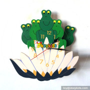 customized wood frog pattern wall clock for kids W14K027