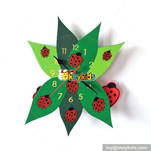 customized wood frog pattern wall clock for kids W14K027