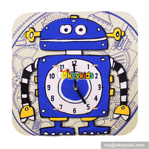 wholesale number and time wooden puzzle alarm clock for sale W14K006