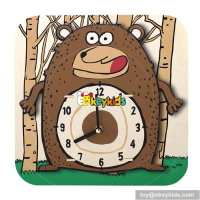 high quality cartoon wooden alarm clock puzzle for sale W14K013