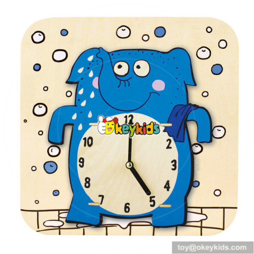 most popular toddlers wooden clock shaped toy for sale W14K014