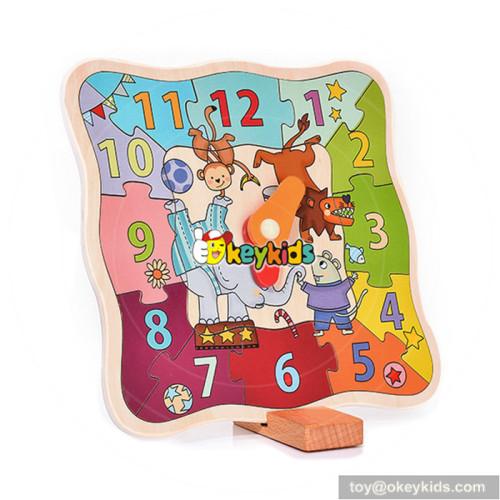 preschool educational children wooden teaching clock W14K015