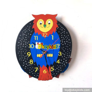 early learning cartoon style wooden owl wall clock for kids W14K031