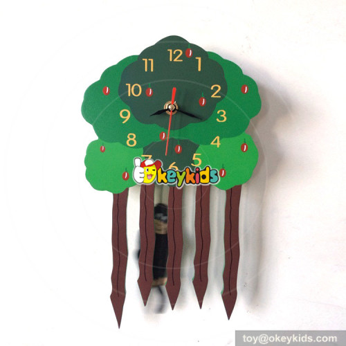 early learning cartoon style wooden owl wall clock for kids W14K031