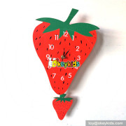 lovely style as decoration baby's bedroom wooden strawberry wall clock W14K038