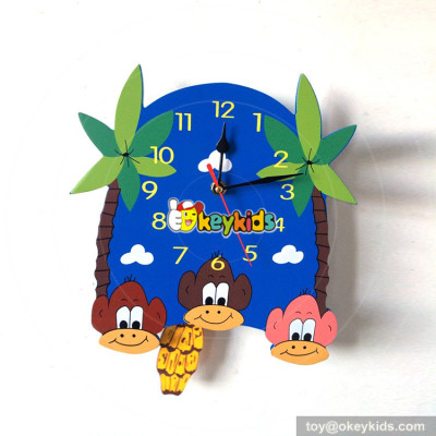 personalised creative monkey wooden boys alarm clock for sale W14K042