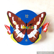 beautiful fashion wooden kids butterfly wall clock for in living room W14K044