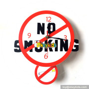 creative customized wooden NO SMOKING warning wall clock for in public area W14K045