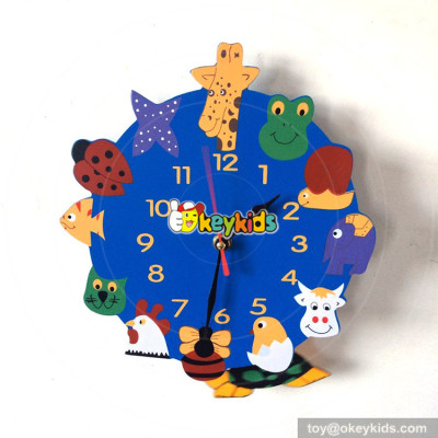 lovely style wooden animals wall clock for girls bedroom W14K046