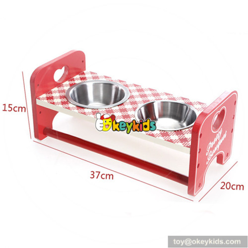 best sale animal wooden pet ceramics bowl for red/pink W06F015