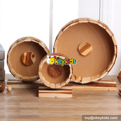 funny small animals creeping toy wooden pet running wheel W06F031