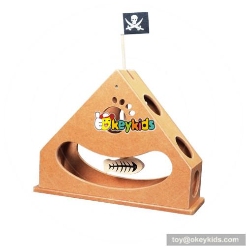 top fashion IQ training wooden cat puzzle feeder W06F036