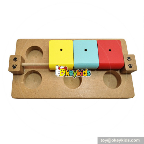 Interactive fun hide and seek food treated wooden intelligence pets puzzle W06F038