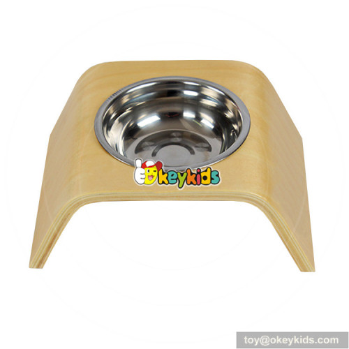 safety stainless steel bowl wooden pet feeder for pets W06F045