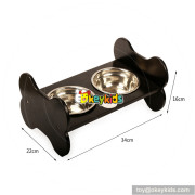 High quality double stainless steel pet bowls wooden dog feeder W06F046