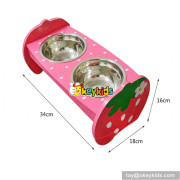 cheap double stainless steel pet bowls wooden dog feeder W06F047