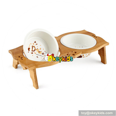 elegant style wooden pet feeder for sale W06F053