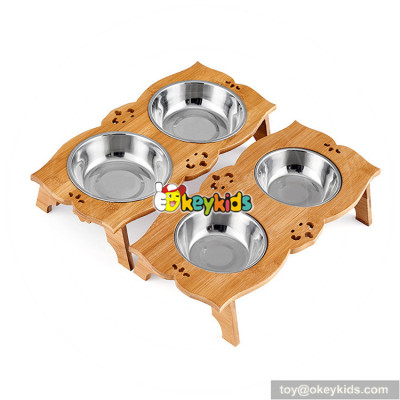 cheap wooden dog food dispenser with double stainless steel bowls W06F054