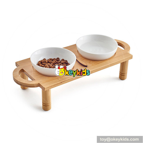 cheap bamboo wooden raised dog with 2 bowls W06F055