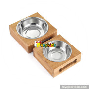 cheap wooden bamboo elevated dog feeder with stainless steel bowls W06F058