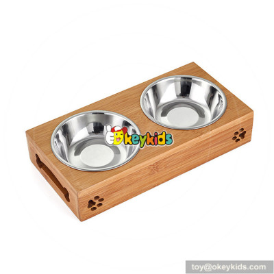 New design pet food water feeder bamboo wooden dog bowls W06F059