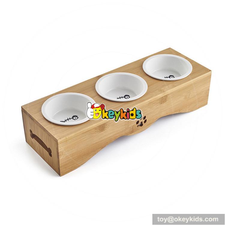 wooden dog feeder