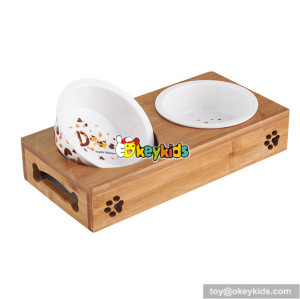 New hottest unique wooden dog feeder with 2 bowls W06F060