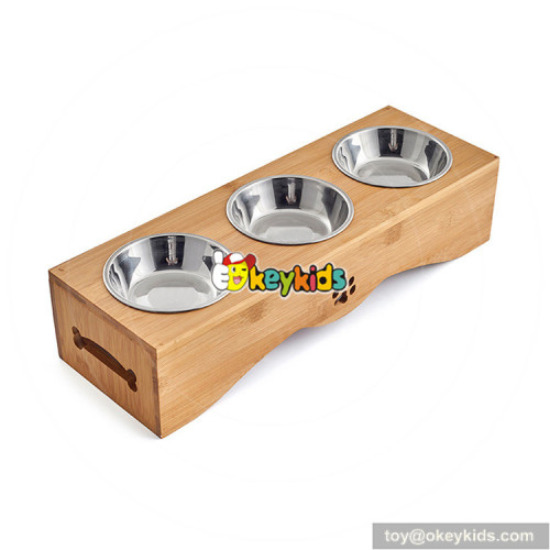 New hottest pet feeder wooden 3 bowl cat feeder W06F061