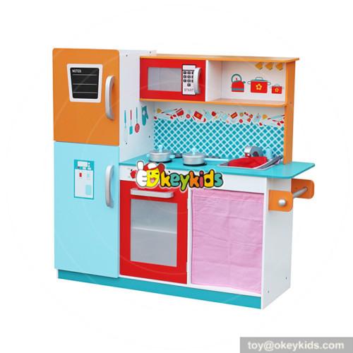 Modern wooden play kitchen with refrigerator W10C205