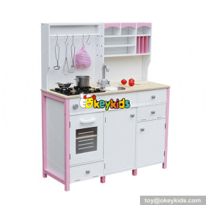 wholesale hottest sale girls pretend play toys wooden pink toy kitchen W10C281