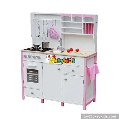 wholesale hottest sale girls pretend play toys wooden pink toy kitchen W10C281
