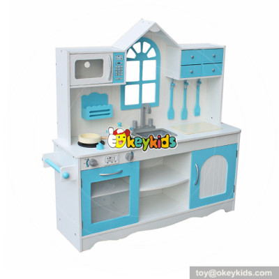 Okeykids creative house shaped role play wooden kitchen toy set for kids W10C346