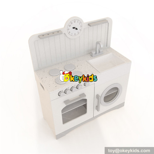 Wholesale popular interactive game wooden white kitchen toy for babys W10C333