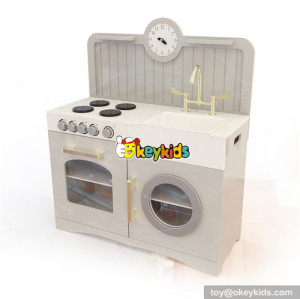 Wholesale modern style wooden white kitchen toy for children's role play game W10C335