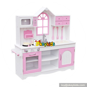 Wholesale fashionable house shape wooden pink kitchen set toy for kids W10C336