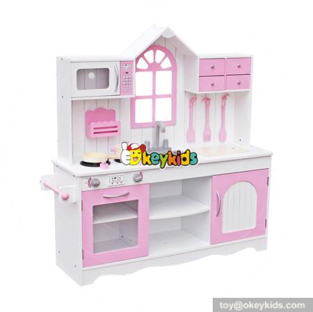 Wholesale fashionable house shape wooden pink kitchen set ...