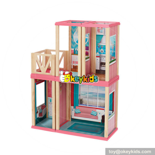 Wholesale delicate mall theme wooden toy shop miniature dollhouse for girls W06A260
