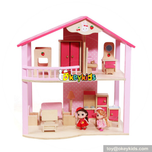 Wholesale high value pink wooden miniature dollhouse toy for baby W06A261