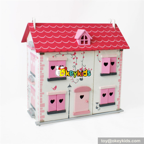 Wholesale pretty pink theme wooden 2 layers doll house toy for girls W06A256