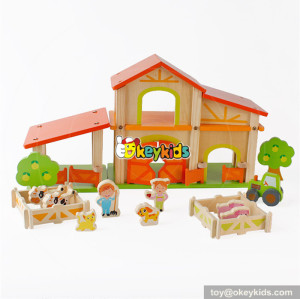 Wholesale popular diy assemble toy wooden farm dollhouse for kids W06A255