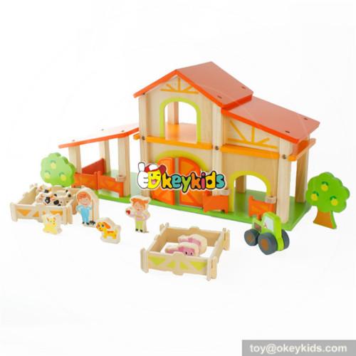 Wholesale popular diy assemble toy wooden farm dollhouse for kids W06A255