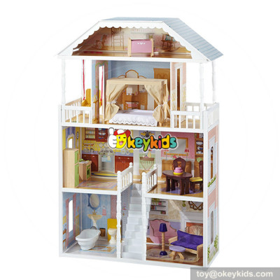 Okeykids Luxurious doll furniture toy wooden girls dollhouse for kids W06A218