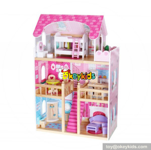 Wholesale pretty role play toy wooden 3 layers girls doll house for baby W06A254