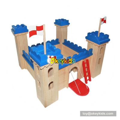 Okeykids New hottest children creative buildings wooden toy castle for kids W06A257