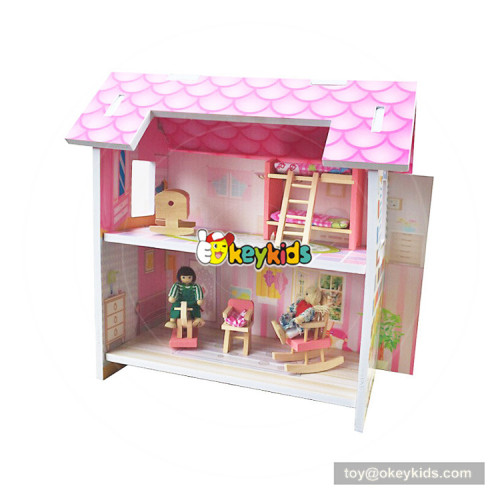 Okeykids New hottest 2-layer children miniatures wooden mini dollhouse with furniture W06A258