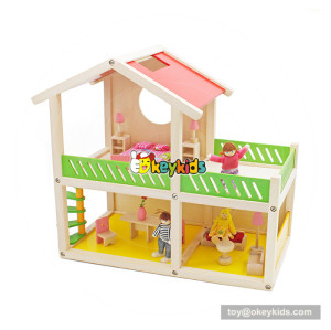 Okeykids New hottest creative playhouse wooden diy doll house set for children W06A259