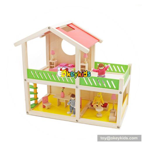 Okeykids New hottest creative playhouse wooden diy doll house set for children W06A259