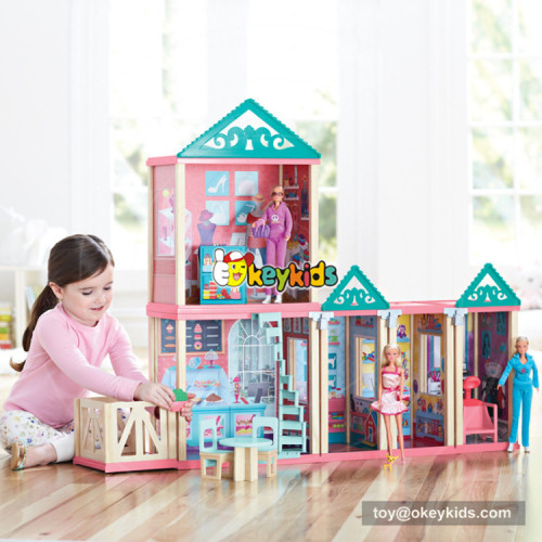 Okeykids New design attractive girls wooden princess doll house with furniture W06A260
