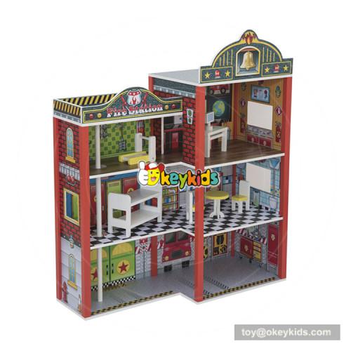 Okeykids New hottest miniature big wooden firehouse toy for children W06A284