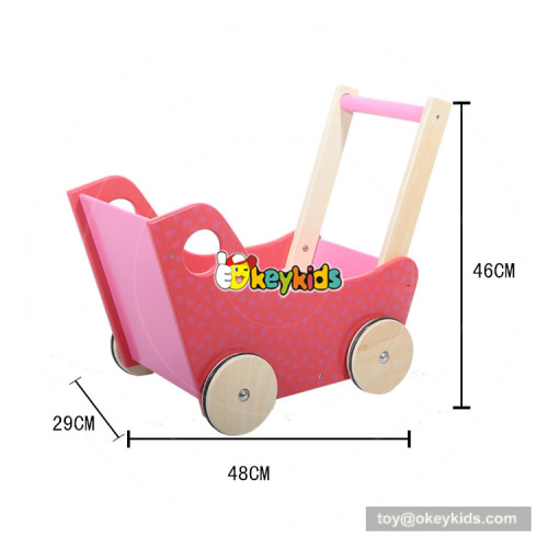 okeykids  cheap pink baby pull wooden toy cart for sale W16E083